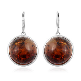 Baltic Amber Solitaire Drop Earrings with Lever Back in Silver 7.50 Grams