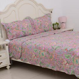 3 Piece Set - Floral Pattern Quilt (Size 240x260 Cm) and 2 Pillow Case (Size 2x70x50+5 Cm)