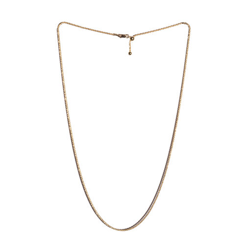 Vicenza Collection - Yellow Gold Overlay Sterling Silver Adjustable Chain (Size 24), Silver wt 4.60 Gms.