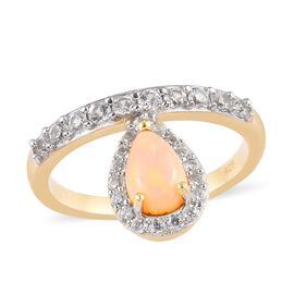 Ethiopian Welo Opal and Natural Cambodian Zircon Ring in 14K Gold Overlay Sterling Silver 3.70 Ct.