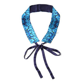 Butterfly Pattern 100% Mulberry Silk Satin Belt (Size 260 Cm) - Navy and Blue