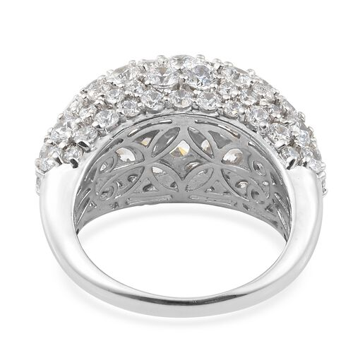 J Francis - Platinum Overlay Sterling Silver (Rnd) Cluster Ring Made with SWAROVSKI ZIRCONIA Number of Swarovski 89