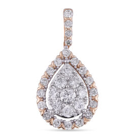 NY Close Out 14K Yellow Gold Diamond (I1/G-H) Pendant 1.00 Ct.