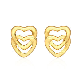 9K Yellow Gold Twin Heart Stud Earrings (with Push Back)