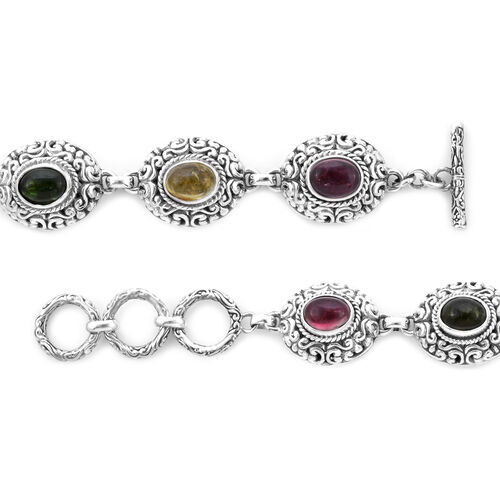 Bali Legacy Collection - Multi-Tourmaline Link Bracelet (Size 8 including Extender) in Sterling Silver 9.68 Ct, Silver wt. 27.00 Gms