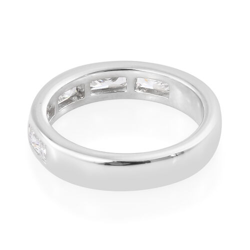 J Francis - Platinum Overlay Sterling Silver (Bgt) Five Stone Band Ring Made with SWAROVSKI ZIRCONIA
