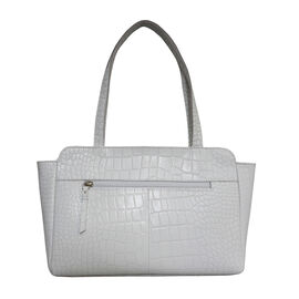 ASSOTS LONDON Judith Genuine Croc Leather Fully Lined Shoulder Bag (Size 32x7x23cm) - White