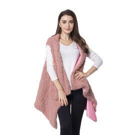 Dusty Rose Colour Faux Fur Kimono (Size 155x75 Cm)