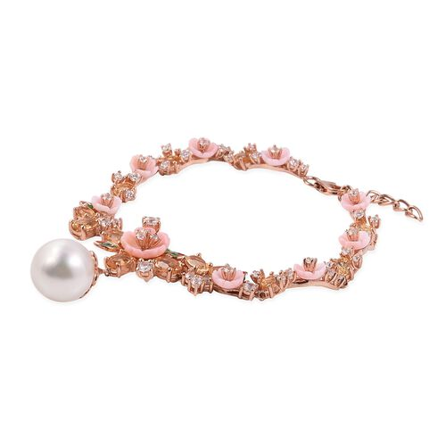Jardin Collection - White South Sea Pearl, Pink Mother of Pearl, Amethyst and Natural White Cambodian Zircon Enameled Bracelet (Size 8) in Rose Gold Overlay Sterling Silver, Silver wt 10.00 Gms.