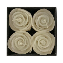 Set of 4 - White Rose Candle in Gift Box (Size 4.5x3 Cm)