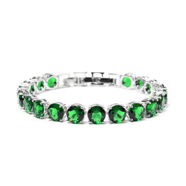 Simulated Emerald Tennis Bracelet (Size 8 with Extender) in Silver Tone