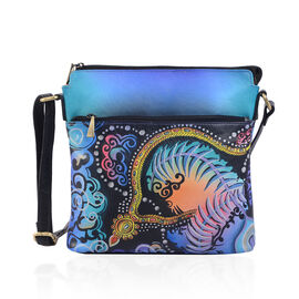 SUKRITI, Meaning Beautiful Creation -  Crown Jewels Hand Painting 100% Genuine Leather  Cross body Handbag with Adjustable Strap (Size 26.5x26.5 Cm)