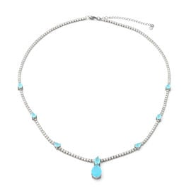 ELANZA Simulated Aquamarine (12x8 mm), Simulated Diamond Necklace (Size 18.5 with 2 inch Extender Ad