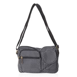 Annabelle Water Resistat Black White Polka Dots Cross Body Bag wit and External Zipper Pockets (Size 23x18x7 Cm)