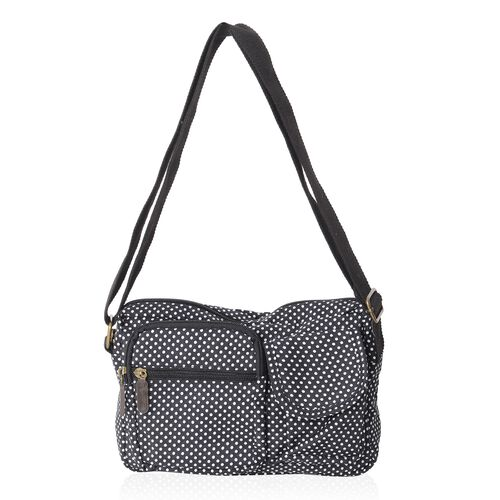 Annabelle Water Resistat Black White Polka Dots Cross Body Bag with External Zipper Pockets (Size 23x18x7 Cm)