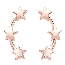Rose Gold Overlay Sterling Silver Star Climber Earrings, Silver wt 3.92 Gms.