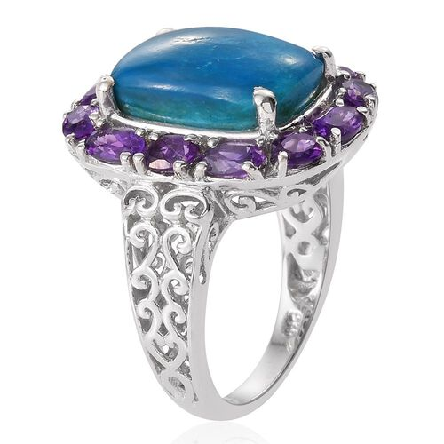 Natural Rare Opalina (Cush 4.65 Ct), Amethyst Ring in Platinum Overlay Sterling Silver 6.500 Ct.