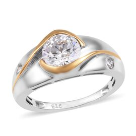 J Francis - Platinum and Yellow Gold Overlay Sterling Silver (Rnd) Ring (Size S) Made with SWAROVSKI ZIRCONIA