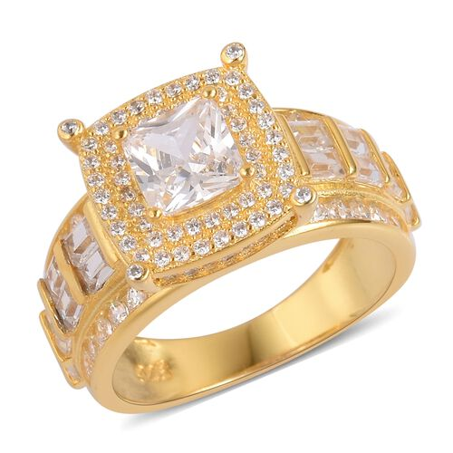ELANZA Simulated White Diamond Ring in 14K Yellow Gold Overlay Sterling Silver, Silver wt 5.60 Gms.