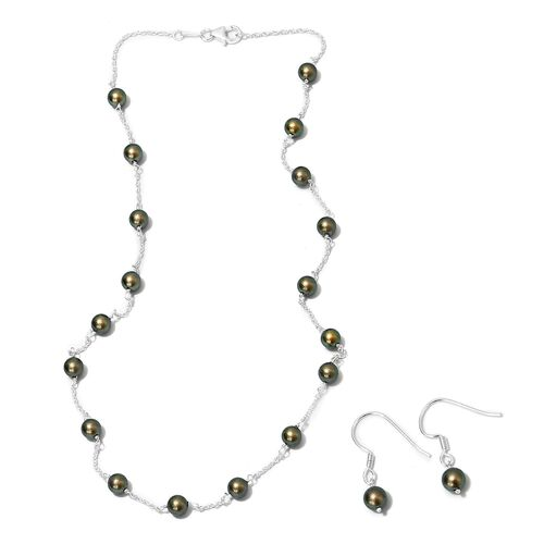 2 Piece Set - J Francis Crystal from Swarovski Iridescent Green Pearl Crystal Earrings and Necklace