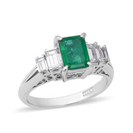 Signature Collection - 900 Platinum AAAA Boyaca Colombian Emerald (Oct 7x5mm), Diamond (SI-I1/G-H) R