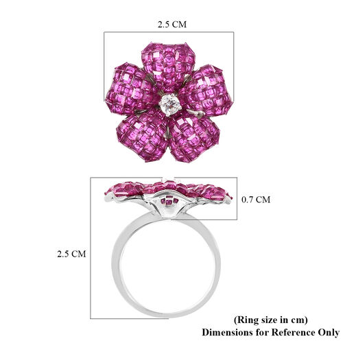 Lustro Stella - Mystery Setting Simulated Ruby and Simulated Diamond Floral Ring in Rhodium Overlay Sterling Silver