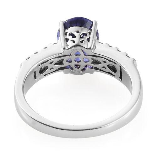 RHAPSODY 950 Platinum AAAA Tanzanite (Ovl), Diamond (VS/E-F) Ring 3.000 Ct, Platinum wt 7.10 Gms.