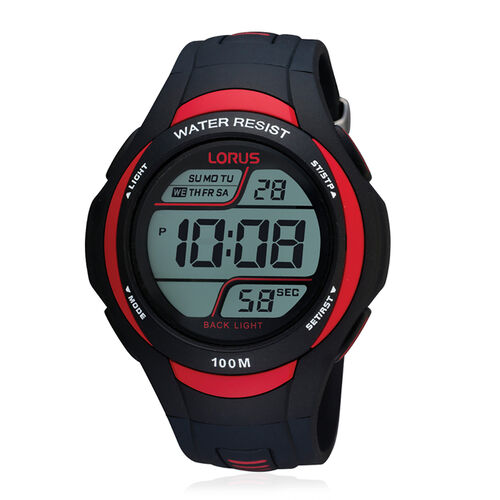 LORUS 100M Water Resistant Digital Sports Watch in Black