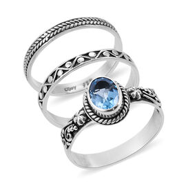 Royal Bali Collection - Set of 3 Swiss Blue Topaz Ring in Sterling Silver 1.53 Ct, Silver wt 6.94 Gm