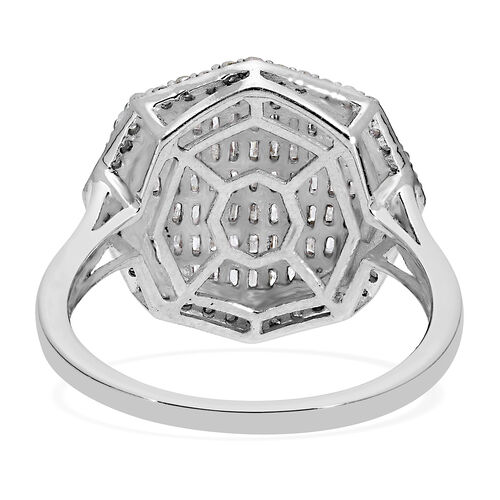 Diamond Cluster Ring in Platinum Overlay Sterling Silver 1.00 Ct.