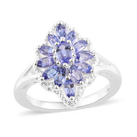 AA Tanzanite (Ovl) Floral Ring in Sterling Silver 1.250 Ct.