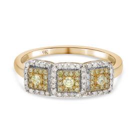 9K Yellow Gold SGL Certified Natural Yellow Diamond and White Diamond (I3/G-H) Ring 0.50 Ct.