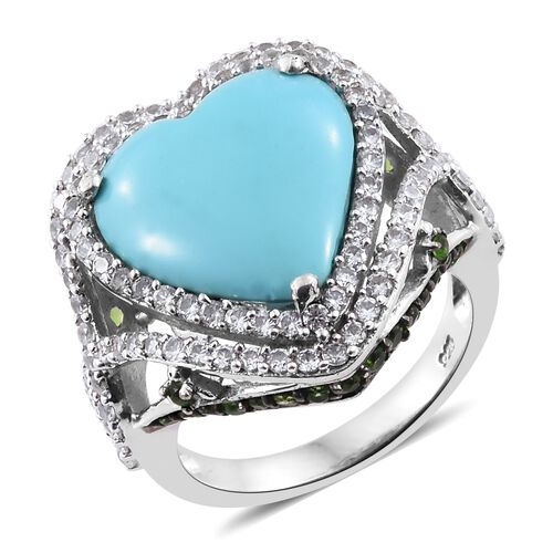 Rare Size 9 Ct Sleeping Beauty Turquoise, Russian Diopside and Zircon Heart Ring in Silver