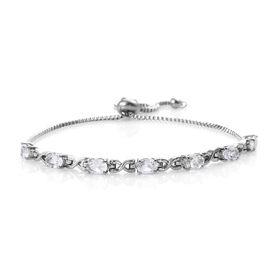 White Topaz (Ovl) Bolo Bracelet (Size 6.5 - 9.5 Adjustable) in Stainless Steel 3.750 Ct.