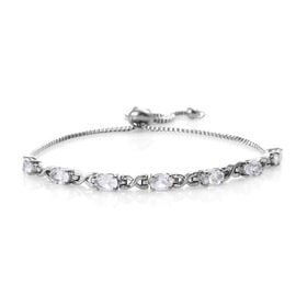 2.75 Ct White Topaz Adjustable Bolo Bracelet in Silver Tone