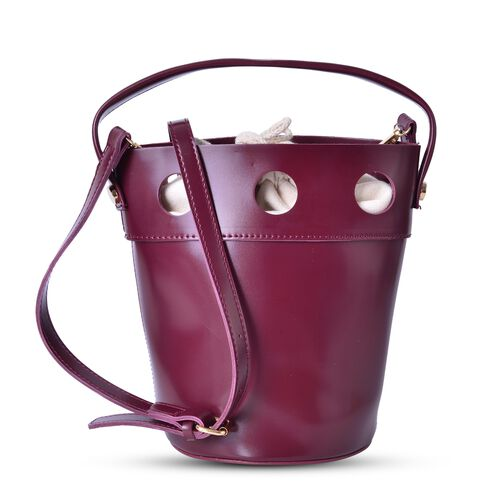 New Style Bucket Bag with Burgundy Canvas Open Top and Adjustable Shoulder Strap (Size 23.5x17x17 Cm