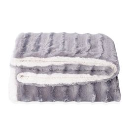 Autumn/Winter Collection - Silver Colour Faux Fur Sherpa Reversible Blanket (150x200 cm)