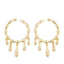LucyQ Natural White Cambodian Zircon (Rnd) Drip Hoop Earrings (with Push Back) in Yellow Gold Overla