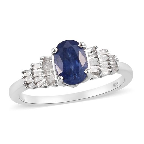 Masoala Sapphire and Diamond Ring in Platinum Overlay Sterling Silver 1.25 Ct.