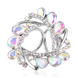 Simulated Mercury Aurora Borealis and  White Austrain Crystal Scarf Ring in Silver Plated