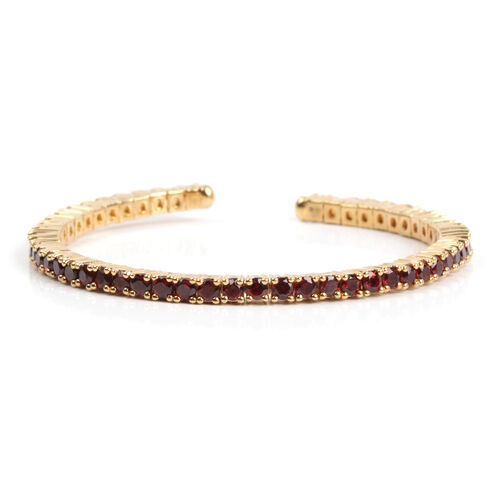 Mozambique Garnet (Rnd) Bangle (Size 6.5) in Yellow Gold Overlay Sterling Silver 5.400 Ct. Silver wt 14.90 Gms.