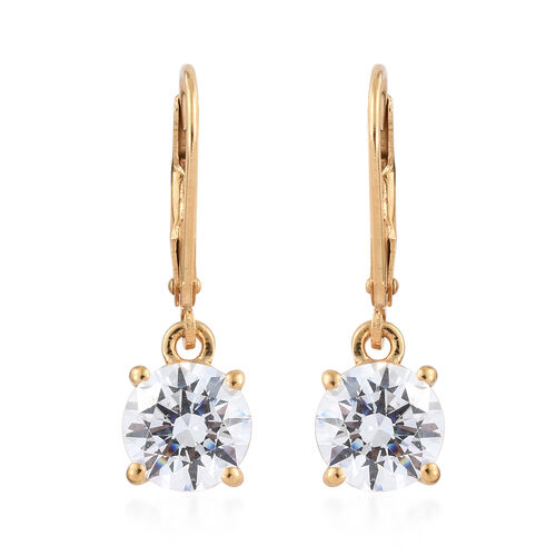 J Francis 14K Gold Overlay Sterling Silver (Rnd 7.5mm) Lever Back Earrings Made with SWAROVSKI ZIRCONIA