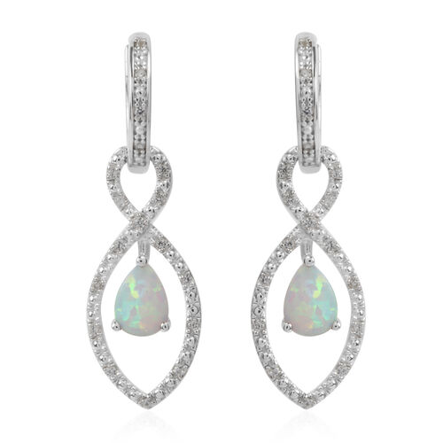Simulated White Opal and Simulated White Sapphire Earrings (with Clasp Lock) in Rhodium Plated Sterling Silver