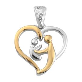 Platinum and Yellow Gold Sterling Silver Mother Child Heart Pendant