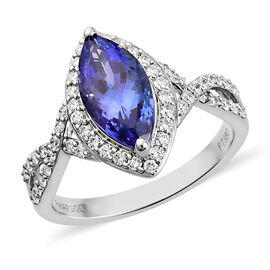 RHAPSODY 950 Platinum AAAA Tanzanite and Diamond (VS/E-F) Ring 2.50 Ct, Platinum wt 5.33 Gms