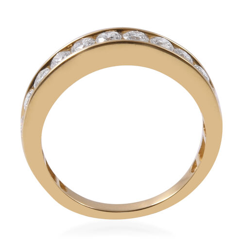 ILIANA 18K Yellow Gold IGI Certified Diamond (Rnd) (SI/G-H) Half Eternity Band Ring 1.000 Ct.