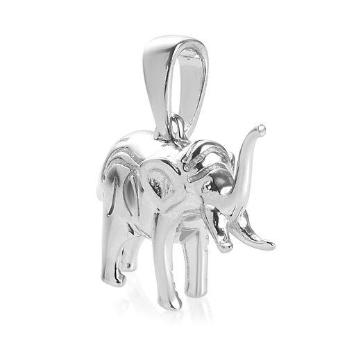 Elephant Goodluck Silver Charm Pendant in Platinum Overlay 4.17 Gms.
