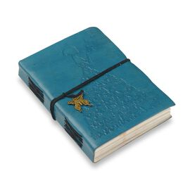 Embossed Leather Notebook with Butterfly Charm (Size 17.78x12.7 Cm) - Teal