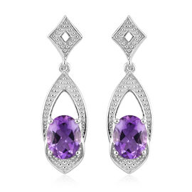 Moroccan Amethyst Dangle Earrings (with Push Back) in Platinum Overlay Sterling Silver 3.25 Ct.