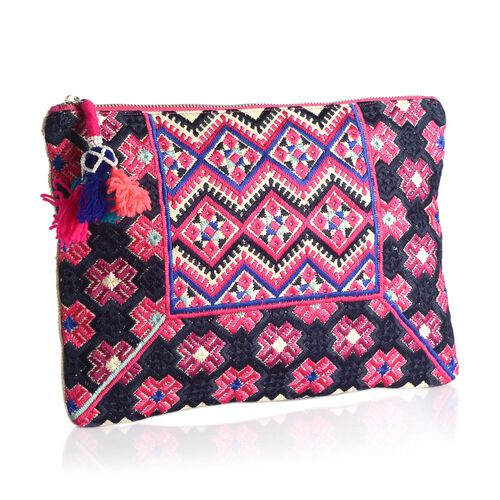 Pink, Black and Multi Colour Hand Bag (Size 32x21 Cm)